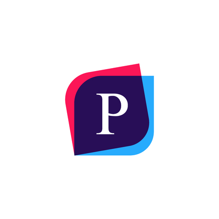 multiply: Abstract P letter logo company icon. Creative vector emblem brand identity sign. Illustration