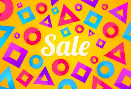 Bright sale banner background with colorful shapes backdrop.