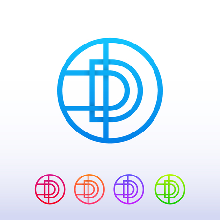 d mark: Letter D logo circle line icon sign vector design. Illustration
