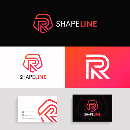 R letter linear logo shield icon sign with brand business card  design.