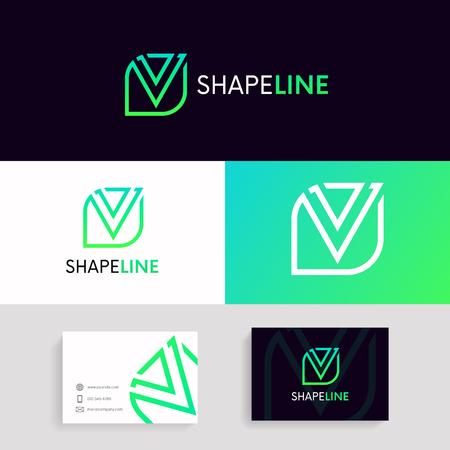 Minimalistic V logo sign linear design.