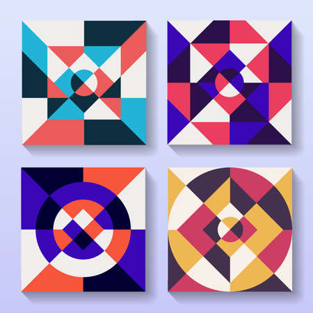 Set of flat geometric cards retro design.