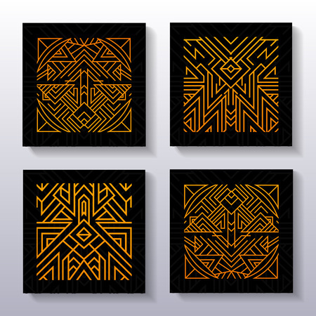 Set of ancients ornamental posters. Dark background with isoteric ornament decoration.