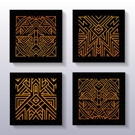 Set di antichi manifesti ornamentali. Sfondo scuro con decorazione ornamentale isoterica.