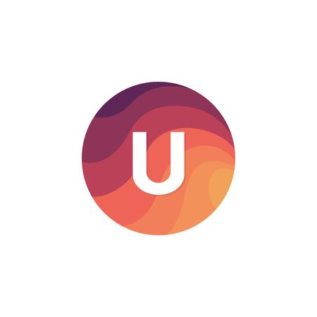 Retro cirkel pictogram U letter logo platte ontwerp.