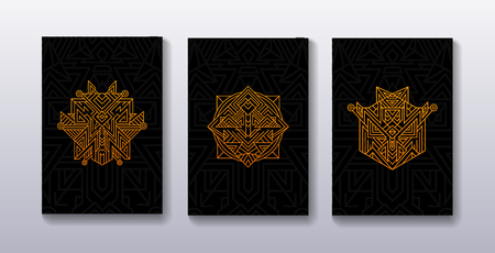 Set of ancients playing cards covers. Poster with alchemy golden symbol.