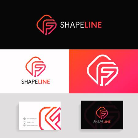 Simple F letter rhombus logo linear design. Stock Vector - 84982654