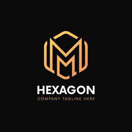 luxe m logo hexagon vintage sign vector design