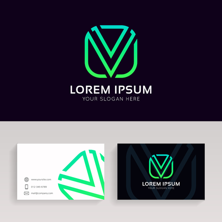 Clean V letter linear icon sign company logo with business card. Illustration