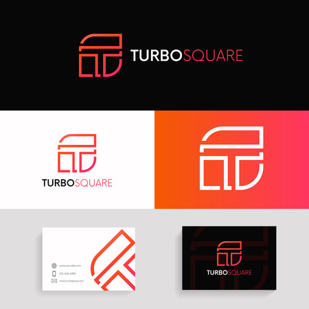 Abstract T logo iconic sign company linear symbol with brand business card. Illustration