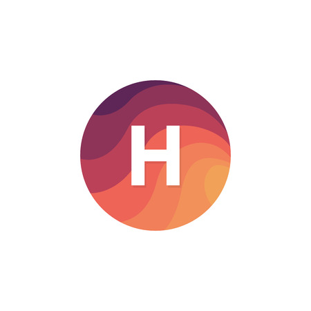 Retro circle icon H letter logo sign flat design. 矢量图像