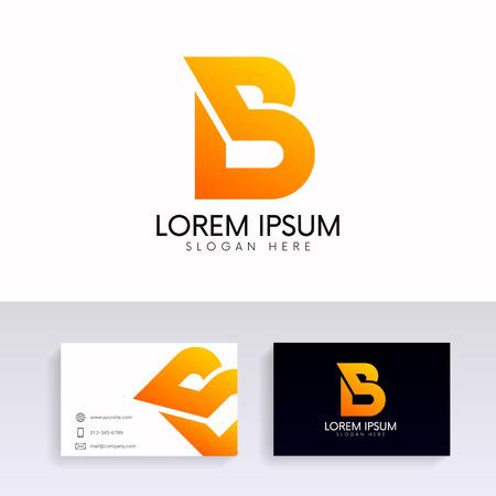 Letter B energy logo design with brand business card. Illustration