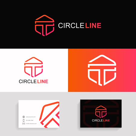 T letter logo iconic hexagon linear sign vector design with brand business card.