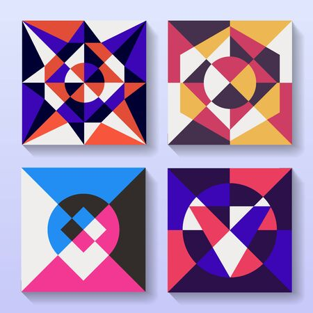 Set of flat geometric cards retro design. Collection of vintage illustrations for brochure or album cover. Illustration