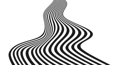 Optical illusion art abstract vector stripped way background. Black and white flow. Illustration