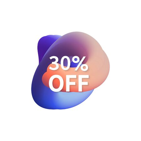 30% off special sale discount banner. Abstract fluid shape with promotion offer.