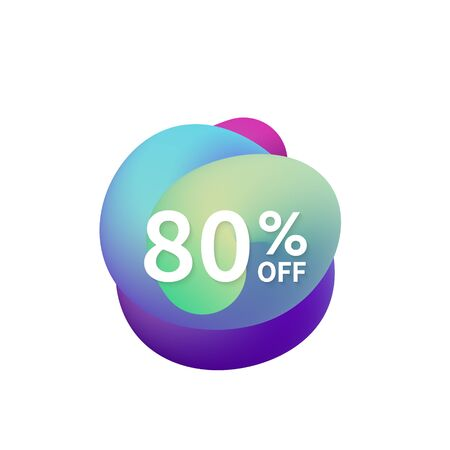 80% off special sale discount banner. Abstract fluid shape with promotion offer.