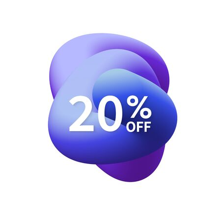 20% off special sale discount banner. Abstract fluid shape with promotion offer.