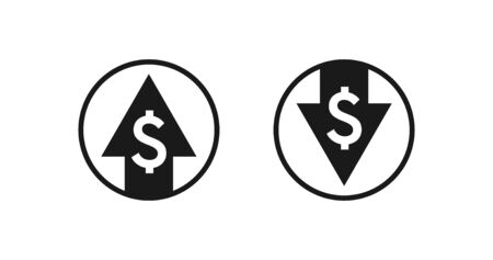 Dollar rise and fall icons. Money symbol with down and up arrow vector design.