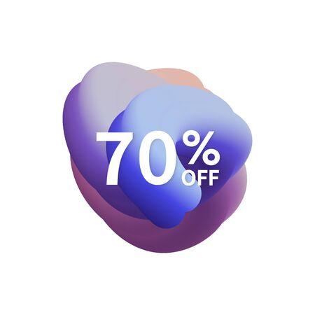 70% off special sale discount banner. Abstract fluid shape with promotion offer. Ilustração