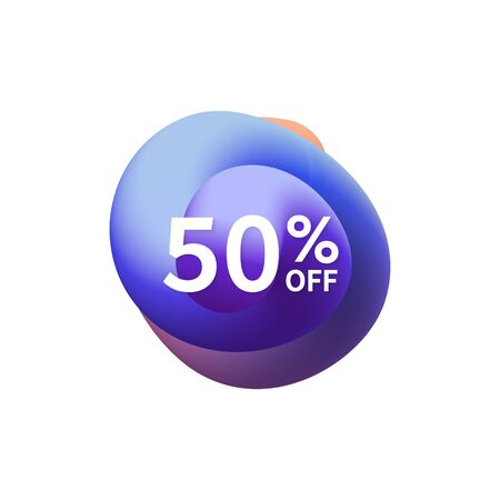 50% off special sale discount banner. Abstract fluid shape with promotion offer.