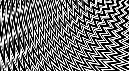 Abstract zig zag vector background. Black and white optical illusion texture. Geometric backdrop. Illustration