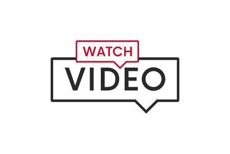 Watch video banner, button, icon, sign vector design.