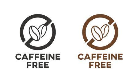 Signe d'icône sans caféine. Conception de vecteur de grains de café isolés.