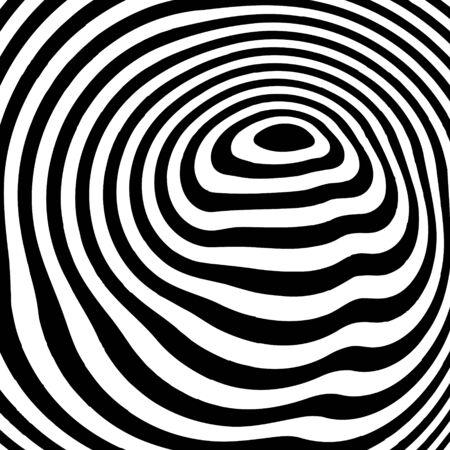 Diseño abstracto del vector del fondo de la ilusión óptica. Telón de fondo blanco y negro rayado psicodélico. Patrón hipnótico.