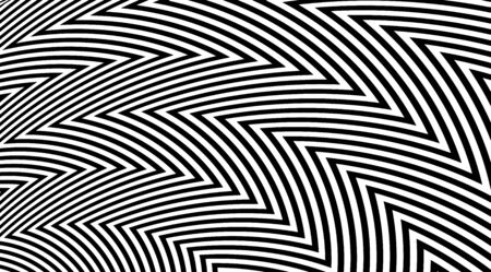 Abstract zig zag optical illusion background. Black and white striped lines vector design. Illustration