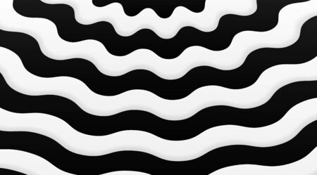 Black and white wavy linear stripped background vector design. Abstract optical illusion backdrop. 向量圖像
