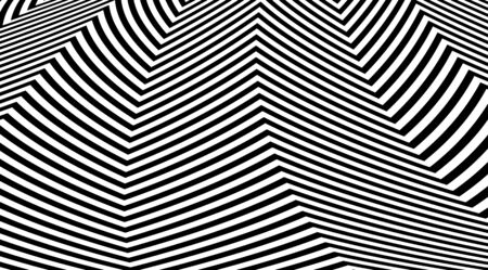 Abstract zig zag optical illusion background. Black and white striped lines vector design. Banque d'images - 139374005