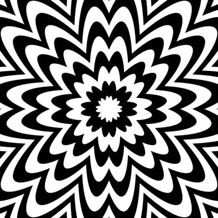 Abstract flower geometric psychedelic striped pattern ornament.