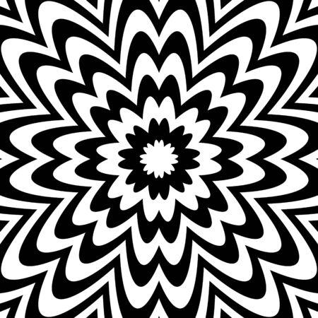 Ornement de motif rayé psychédélique géométrique de fleur abstraite.