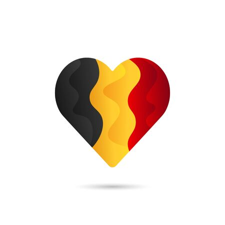 National flag of Belgium in heart sign love icon vector design. Abstract liquid gradient hearth symbol colorful design.