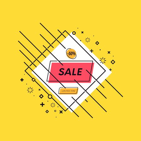 Trendy vector sale banner. Dynamic promo poster with shapes.