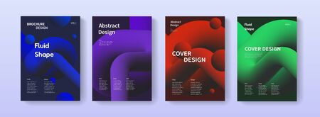 Dynamic posters set with liquid fluid shapes. A4 size abstract gradient background illustrations for brochure, banner, print, flayer, card.