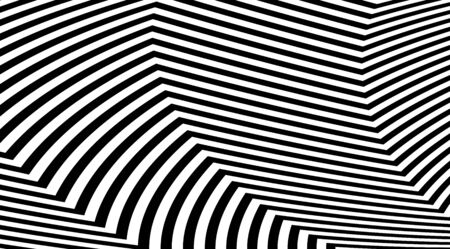 Abstract zig zag optical illusion background. Black and white striped lines vector design. 向量圖像