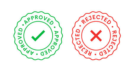 Approved and Rejected Stamp Icon Signs vector design.