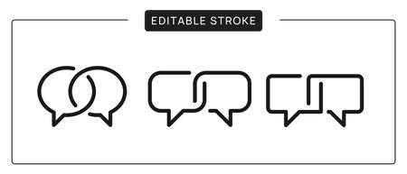 Productive dialog icons. Linear Chat Logo Design. Interview Vector sign. Editable Stroke.