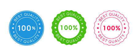 Set of Best Quality Stamp Icon Signs. Vector Premium Product Emblem.