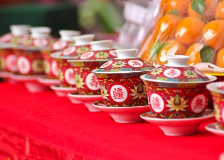 chinese tea cup: Chinese tea cup in Chnese new year
