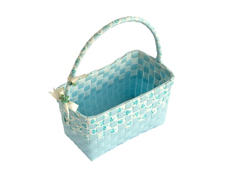 Blue basket on white  photo