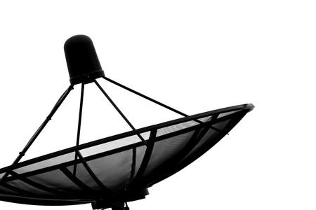 Silhouette satellite dish on white  photo