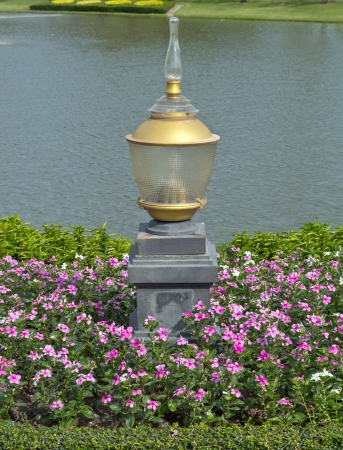 Thai style lamp  Thai style lamp in famous garden  photo