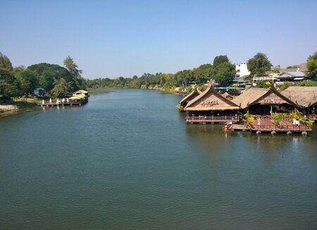 famous place: KwaeNoi river, Kanchanaburi Thailand. The famous place in Thailand. Stock Photo