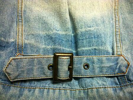 denim: Denim belt behind jacket