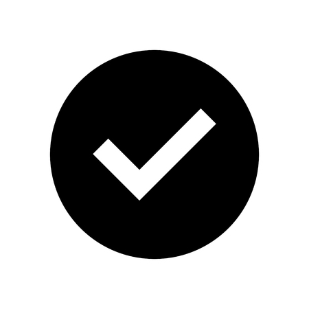 yes button: Confirm or approved symbol - Check mark icon. Yes button