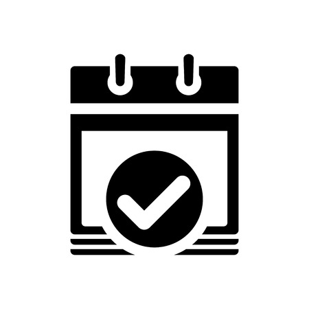 accept: calendar date choose ok accept check mark icon Illustration