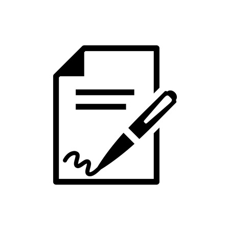 pen writing: signing contract  icon Illustration